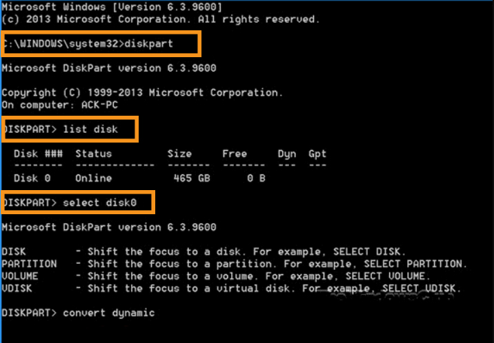 Convert to Dynamic Disk with a Diskpart